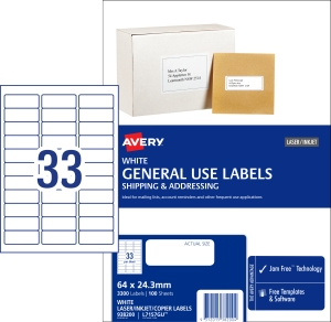 AVERY GENERAL USE LABELS, 64X24.3MM, 3300 LABELS L7157GU