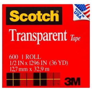 3M SCOTCH 600 TRANSPARENT TAPE 12MM X 33M BOXED