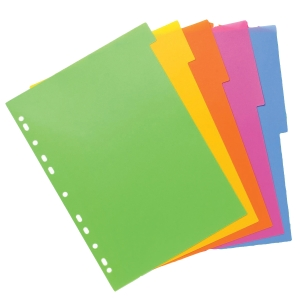 BANTEX DIVIDERS LOLLY SHOP 5 TAB POLYPROPYLENE A4 - EACH