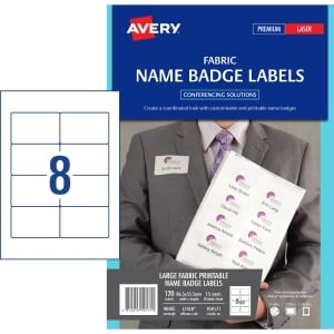 AVERY FABRIC NAME BADGE LABELS FOR LASER PRINTERS, 86.5X55.5MM, 120 LABELS L7418