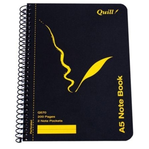 QUILL Q570 SPIRAL NOTE BOOK A5 200 PAGE BLACK - EACH