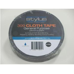 STYLUS 399 CLOTH TAPE 48MM X 25M BLACK - EACH