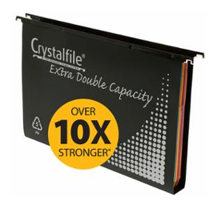 CRYSTALFILE EXTRA DOUBLE SUSPENSION FILE WITH TABS&INSERTS BLACK - BOX OF 10