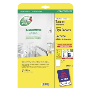 AVERY ADHESIVE SIGN POCKETS FOR LASER PRINTERS, 221X304MM, 10 SIGNS L7083