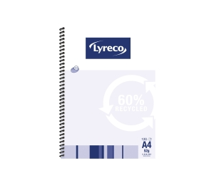 LYRECO 60% RECYCLED SPIRAL BOUND NOTE BOOK A4 120 PAGE - EACH