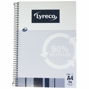 LYRECO 60% RECYCLED SPIRAL BOUND NOTE BOOK A4 240 PAGE - EACH