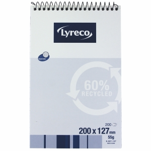 LYRECO 60% RECYCLED SPIRAL BOUND TOP OPENING NOTE BOOK 200X127MM 200 PAGE - EACH
