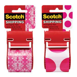 SCOTCH DECORATIVE SHIPPING TAPE 45.7MM X 12.7M ASSORTED DESIGNS PINK/WHITE -EACH