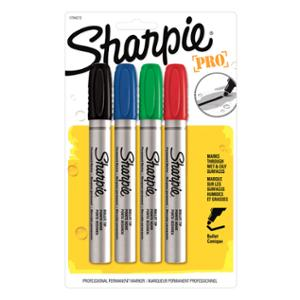 SHARPIE PRO METAL BULLET TIP PERMANENT MARKER 1.5MM ASSORTED - PACK OF 4