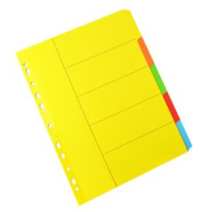 LYRECO 5 TAB DIVDERS BOARD A4 ASSORTED COLOUR  - EACH