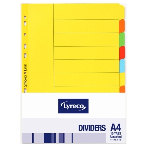 LYRECO 10 TAB DIVIDERS BRD A4 ASSORTED COLOUR - EACH