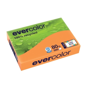 EVERCOLOR 100% RECYCLED PAPER 80GSM A4 ORANGE - REAM OF 500 SHEETS