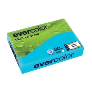 EVERCOLOR 100% RECYCLED PAPER 80GSM A4 DEEP BLUE - REAM OF 500 SHEETS