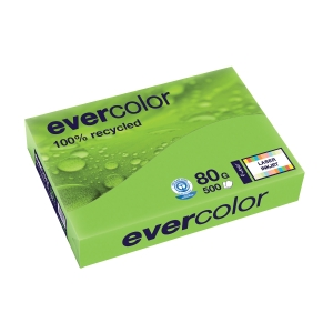 EVERCOLOR 100% RECYCLED PAPER 80GSM A4 LIME - REAM OF 500 SHEETS