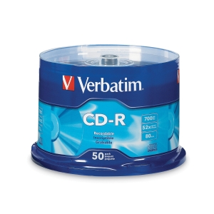 VERBATIM CD-R 80MIN/700MB 52X SPINDLE - PACK OF 50