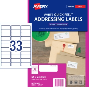 AVERY QUICK PEEL ADDRESS LABELS FOR LASER PRINTERS, 64X24.3MM, 3300 LABELS L7157