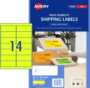 AVERY FLUORO YELLOW SHIPPING LABELS FOR LASER 99.1X38.1MM 350 LABELS L7163FY