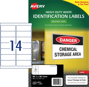 AVERY WHITE HEAVY DUTY LABELS FOR LASER PRINTERS, 99.1X38.1MM, 350 LABELS L7063