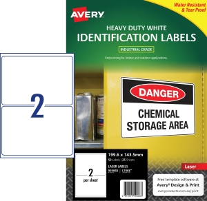 AVERY WHITE HEAVY DUTY LABELS FOR LASER PRINTERS, 199.6X143.5MM, 50 LABELS L7068
