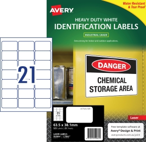 AVERY WHITE HEAVY DUTY LABELS FOR LASER PRINTERS, 63.5X38.1MM, 525 LABELS L7060