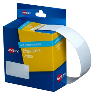 AVERY WHITE RECTANGULAR DISPENSER LABELS, 36X19MM, 450 LABELS, HANDWRITABLE