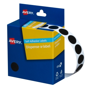 AVERY BACK CIRCLE DISPENSER LABELS, 14MM DIAMETER, 1050 LABELS