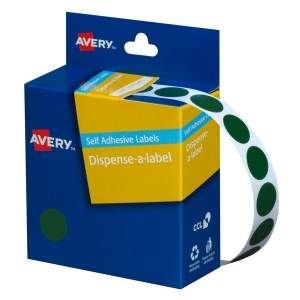 AVERY GREEN CIRCLE DISPENSER LABELS, 14MM DIAMETER, 1050 LABELS