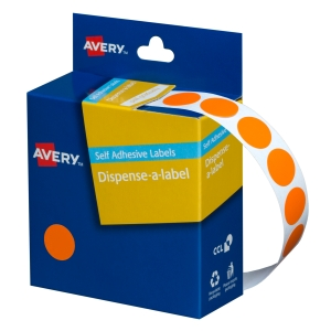 AVERY ORANGE CIRCLE DISPENSER LABELS, 14MM DIAMETER, 1050 LABELS