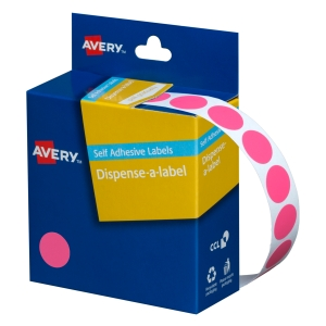 AVERY PINK CIRCLE DISPENSER LABELS, 14MM DIAMETER, 1050 LABELS