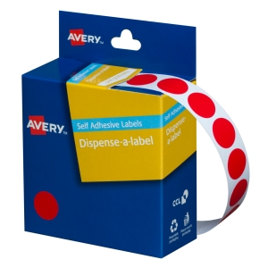 AVERY RED CIRCLE DISPENSER LABELS, 14MM DIAMETER, 1050 LABELS