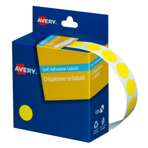 AVERY YELLOW CIRCLE DISPENSER LABELS, 14MM DIAMETER, 1050 LABELS