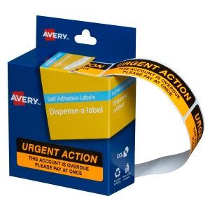 AVERY URGENT ACTION DISPENSER LABELS, 64X19MM, 125 LABELS