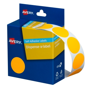 AVERY FLUORO ORANGE CIRCLE DISPENSER LABELS, 24MM DIAMETER, 350 LABELS