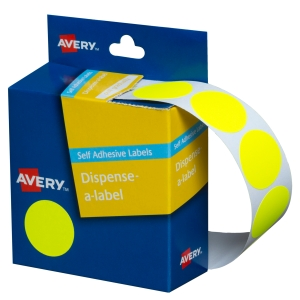 AVERY FLUORO YELLOW CIRCLE DISPENSER LABELS, 24MM DIAMETER, 350 LABELS