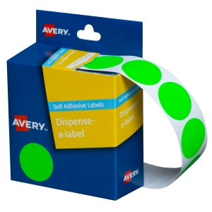 AVERY FLUORO GREEN CIRCLE DISPENSER LABELS, 24MM DIAMETER, 350 LABELS