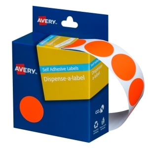 AVERY FLUORO RED CIRCLE DISPENSER LABELS, 24MM DIAMETER, 350 LABELS