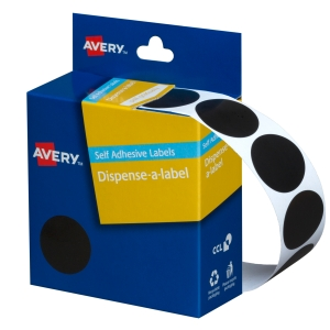AVERY BLACK CIRCLE DISPENSER LABELS, 24MM DIAMETER, 500 LABELS