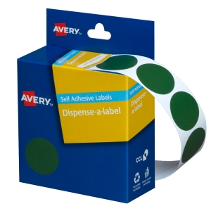 AVERY GREEN CIRCLE DISPENSER LABELS, 24MM DIAMETER, 500 LABELS