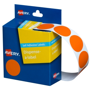 AVERY ORANGE CIRCLE DISPENSER LABELS, 24MM DIAMETER, 500 LABELS