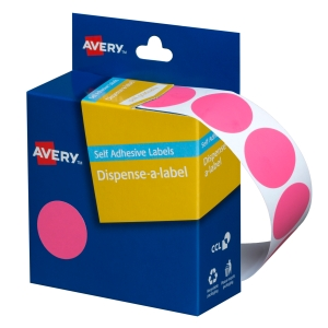 AVERY PINK CIRCLE DISPENSER LABELS, 24MM DIAMETER, 500 LABELS