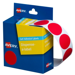 AVERY RED CIRCLE DISPENSER LABELS, 24MM DIAMETER, 500 LABELS