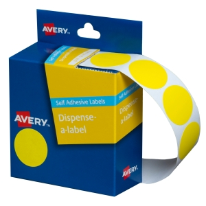 AVERY YELLOW CIRCLE DISPENSER LABELS, 24MM DIAMETER, 500 LABELS
