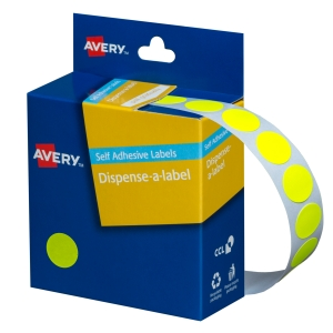 AVERY FLUORO YELLOW CIRCLE DISPENSER LABELS, 14MM DIAMETER, 700 LABELS
