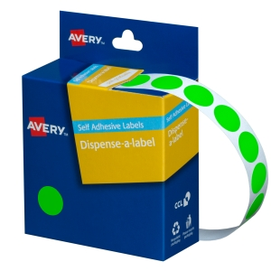 AVERY FLUORO GREEN CIRCLE DISPENSER LABELS, 14MM DIAMETER, 700 LABELS