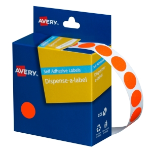 AVERY FLUORO RED CIRCLE DISPENSER LABELS, 14MM DIAMETER, 700 LABELS