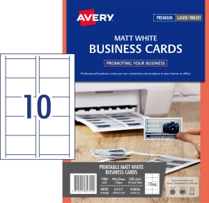 AVERY MATT FINISH BUSINESS CARDS, 90X52MM, 1000 CARDS L7415