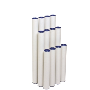 MARBIG POSTAL TUBE WITH CAP 60 X 420MM WHITE - PACK OF 4 TUBES