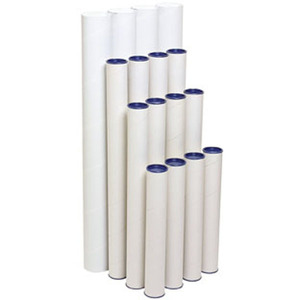 MARBIG POSTAL TUBE WITH CAP 60 X 600MM WHITE - PACK OF 4 TUBES