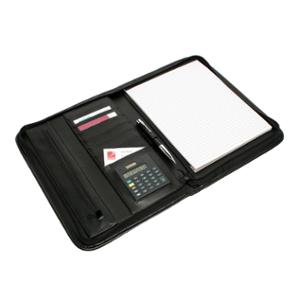 COMPENDIUM REXEL CONFERENCE FOLDER WITH ZIP LEATHER BLACK - EACH