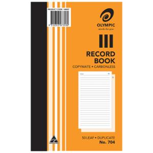 OLYMPIC 704 FEINT RULED DUPLICATE CARBONLESS BOOK 200 X 125MM - EACH